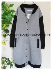 春新作☆大きいサイズ☆4Lグレー×ブラック切替☆スタジャン風ロングジャンパー