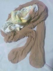 極薄ベージュパンスト&フロントレース刺繍パンティL/タンス整理品