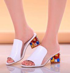 487 春夏 クリア ステンドグラス サンダル ローヒール 靴 24cm