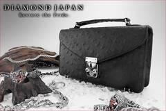 送料無料オーストリッチセカンドバッグ/鞄オラオラヤクザヤンキー皮革調チョイ悪メンズ/71黒