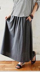 ☆新品☆可愛い*とろみサイドポケット付きロングフレアスカート