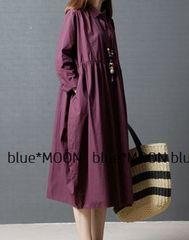 【L-2L】大きいサイズ!裾フレアー*ロングシャツワンピース/紫