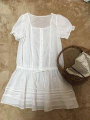 レッセパッセ裾レースブラウジングシャツワンピース白ホワイト38