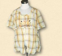 新品チェック刺繍チュニックシャツ5L