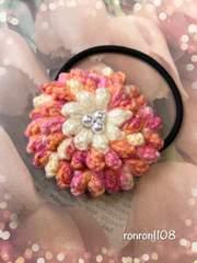 ハンドメイド♪毛糸編み 花びらいっぱいお花のヘアゴム 7