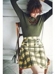 アプワイザーリッシェ ◆ 一度着美品 ◆ 起毛チェックスカート (ブラウン)♪