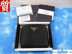質屋◆本物 プラダ 財布 二つ折り ラインド ブラック ナイロン×レザー 良品
