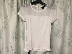 H&M白色ホワイト半袖シースルーTシャツカットソートップス