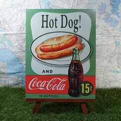 新品【ブリキ看板】Coca-Cola/コカ・コーラ Hot Dog! 15¢