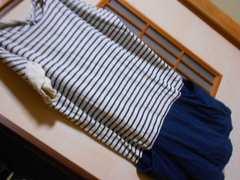 LEPSIM*ボーダー切り替えワンピースL*ナチュラル春夏に★クリックポスト164円