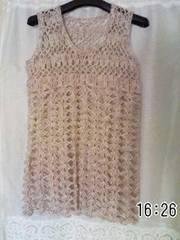 手編みベージュ系混色モヘアのチュニックベスト