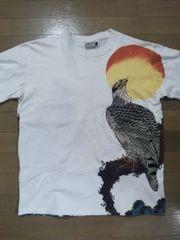 ★USED【百花繚乱】月に鷹 半袖Tシャツ スカジャン好きにも