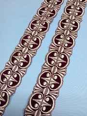 1スタ・ワインベロアに銀糸刺繍のブレードテープ(��41112)