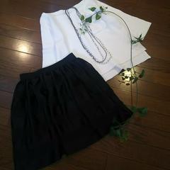 〇イーハイフン〇すかしボーダーゴムウエストスカート*・゜美品