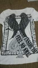 バックウィングラメ羽根刺繍いかつめTシャツ超美品