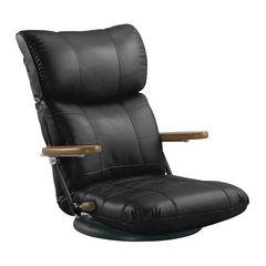 木肘スーパーソフトレザー座椅子 ブラック YS-C1364_BK