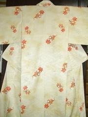 流水に楓紋様暈しの 袷のお着物 未使用品