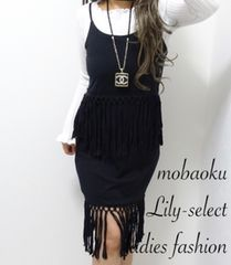 new://雑誌掲載◆black*めちゃ可愛フリンジワンピース 1094