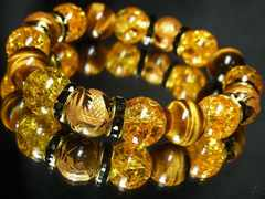 ◆開運天然石◆金彫四神獣×タイガーアイ×シトリンクラック数珠