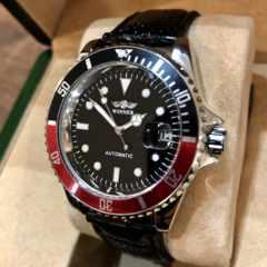 最安値!大特価!ロレックス・サブマリーナタイプ自動巻きレザー腕時計黒×赤
