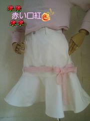 160�p〜*別珍素材マーメイドスカートホワイト