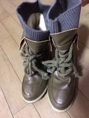 24〜24.5サイズ☆ショートブーツ☆カーキ☆紐太