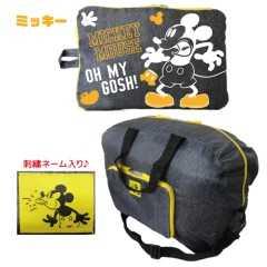 ミッキーマウス折り畳みボストンバッグ(大容量)☆耐荷重5�sデニム