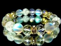 レインボー64面カット水晶ブルームーンストーンクラック水晶10ミリ金ロンデル数珠