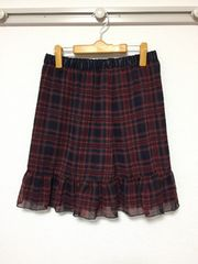 新品:サイズ2L:チェック柄膝丈タイトスカート、ウエストゴム