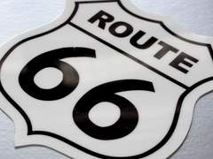 ROUTEルート66アメリカ国道ステッカーA 8x8cm アメリカン