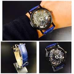 腕時計 ギリシャ文字  機械型 ステンレス レザー 革ベルト 青