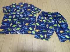 【新品】夏オススメ♪半袖前開きパジャマ100�pブルー恐竜柄