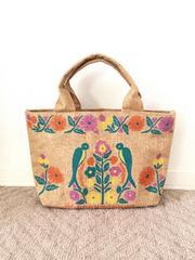チチカカ/titicaca 鳥&花柄 麻素材 トートバッグ 新品未使用