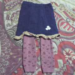 キッズレギンス 一体型 花付きスカート 80�p