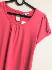 COLZAピンクの可愛いTシャツ/後ろリボン/Lサイズ/新品