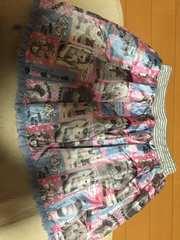 mezzo piano☆うさぎ写真風柄☆水色☆ミニスカート☆フリル付き