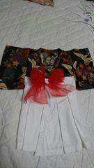 キ5・送込 新品☆ハンドメイド お宮参り 羽織袴風ドレス 赤いリボン