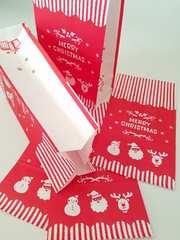 用途いろいろ角底紙袋★メリーオーナメント10枚★キュートクリスマス