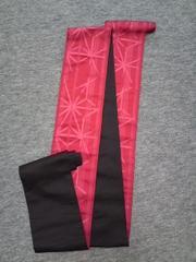 浴衣ユカタの袋帯赤織模様×無地黒美品