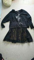 黒の十字架Tシャツ+ヒョウ柄ワンピース