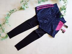 【新品】レギンス付フィットネスパンツ�C紺《ピンクライン》LLサイズ