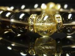 金運上昇パワーストーン スモーキークォーツ タイチンルチルブレスレット 12mm数珠