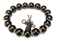 木製数珠黒檀木牛骨チップ加工有り12mmブレスレット
