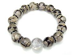 オラオラ迫力昇龍手彫り銀箔水晶16mmドラゴンアゲート天然石数珠