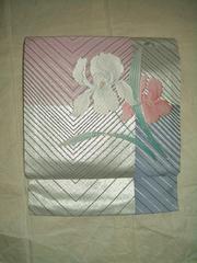 銀箔プラチナライン洋風紋様の 名古屋帯