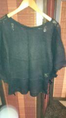 ■秋物美品黒鍵編みバタフライ袖両脇リボンニットソー■
