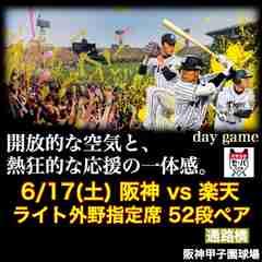 ☆交流戦☆6/17(土)阪神vs楽天 ライト外野 最上段52段ペア/通路横