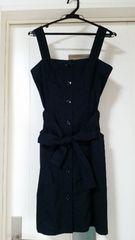 新品 プレミアムバイラストシーン リボンベルト付きジャンパースカート ネイビー サイズ1