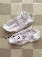 ☆愛用品★オレンジ色のチェック柄スニーカーソックス★靴下☆