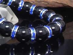天然ブラックオニキス12ミリ青ロンデル数珠